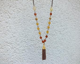 Tassel necklace Brown Necklace Boho Necklace