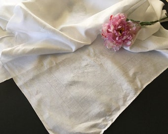 Vintage White Damask Linen Tablecloth