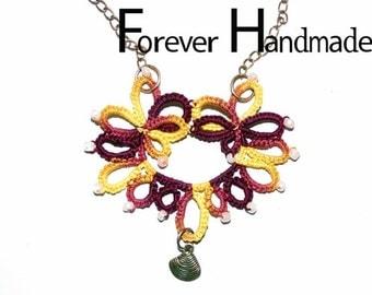 Gold Crimson Fall Flower Tatting Lace Crochet Necklace