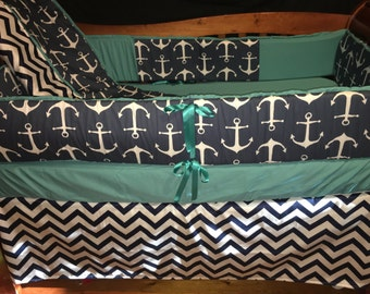 24 HR SALE***Navy Anchor/Chevron with teal solid crib bedding (sale is only on full sets)