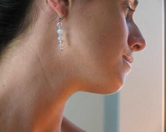 Chalcedony, peridot, crystal, glass, drop earrings