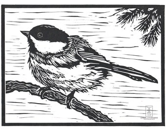 Little Chickadee, Linocut Relief Print, Hand Pulled Fine Art, Limited Edition, Printmaking Original