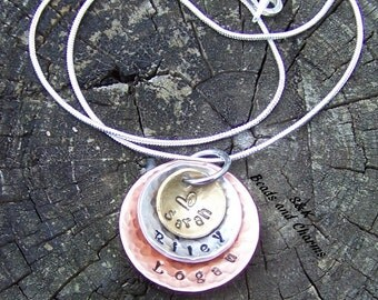 3 layer Mommy necklace,Hand stamped jewelry ,mommy jewelry, engraved jewelry, Mommy 3 layer stacked necklace, textured , cupped