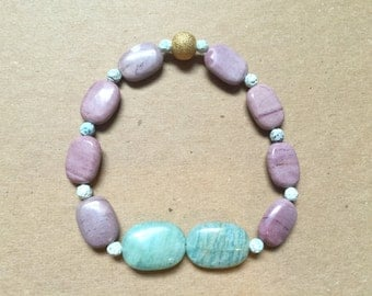 Gemstone color block bracelet with agate and Amazonite