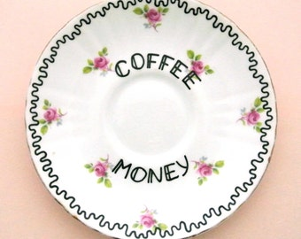 Coffee Money Gift for Coffee Lovers Caffeine Addict Present Ring Dish Ornamental Trinket Holder Pink Jewelery Box for Her Latte Espresso
