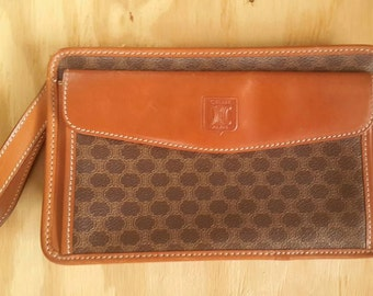 Celine Clutch Purse Bag Leather Trim