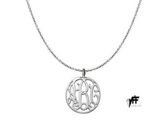 "Any initial necklace - Personalize Silver Disc Monogram Necklace 0.8"" sterling silver .925 silver"
