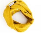 Mustard baby infinity scarf, Dark yellow baby cowl with snaps, Gold jersey scarf for baby, Soft jersey toddler scarf, Lightweight baby scarf