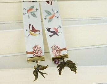Bookmark • birdsong • birds swallow leafs bronze vintage