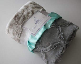 Gray and White Snow Leopard Minky Blanket with Gray Lattice and Saltwater Blue Satin Trim - Baby Bedding, Baby girl or boy, Nursery, Shower