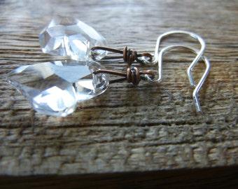 Swarovski Crystal Heart Oxidized Copper Earrings - Sterling Silver Earrings