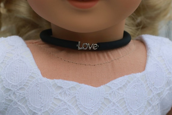 Doll Accessories | LOVE Charm CHOKER NECKLACE in Black or Frosted White for dolls such as American Girl Doll