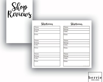 Traveler's Notebook Pocket Shop Review Printable Pages
