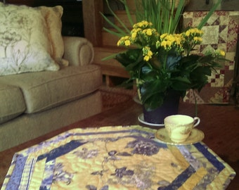 Quilted Table Topper.  Blue and Yellow.  Centerpiece. Octagonal, Approx. 20 3/4 inches across.