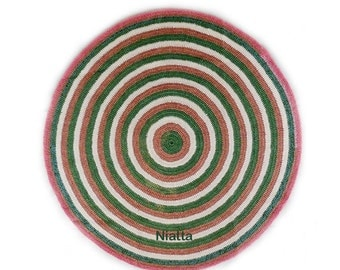 Crochet Round Rugs Handmade Woven Rug Pet Bed Floor Mat Woven Carpet  Bullseye OOAK Egst Niatta