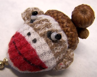 Cute As Can Be Sock Monkey Sewing Needle Emery/Pin Cushion with Acorn Cap - SM1