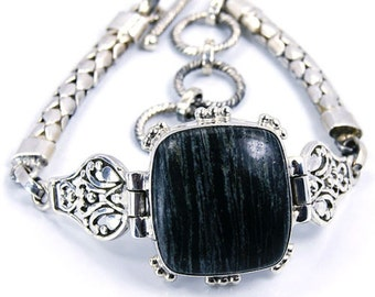 Black Zebra Jasper & .925 Sterling Silver Bracelet , M316