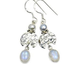 Rainbow Moonstone, Pearl & Sterling Silver Dangle Earrings ; AB193