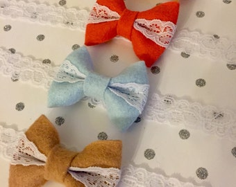 Pick 2: Bows Wrapped in Lace- Choose from Buttercream, Coral, Icicle, Toast