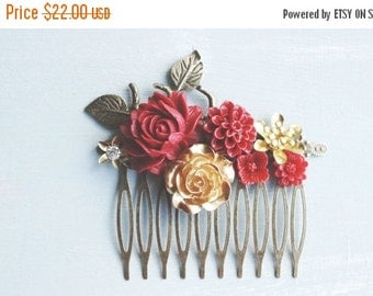 ON SALE Hair Comb, Gold and Red resin flower hair comb.