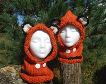 Knit Fox Hooded Cowl // Knit Fox Hooded Scarf // Wool Fox Cowl // Hooded Animal Cowl // Failynn Fox Cowl // The Velvet Acorn