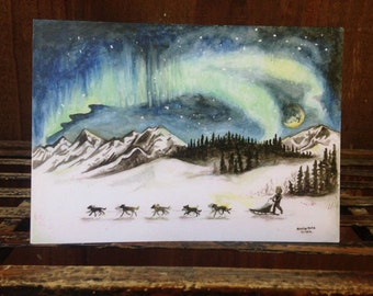 Northern Lights & Sled Dogs Greeting Card