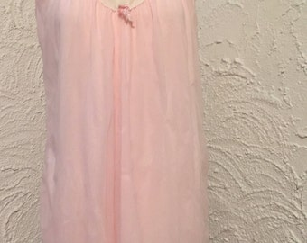 Vintage Pink Nightie 1950s Mid Century Nylon Nightgown With Lace and Ribbon