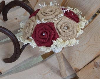 Maroon Burlap Bouquet, Bridesmaid Burlap Bouquet, Wedding Bouquet, Maroon Bouquet, Burgundy Bouquet, Fall Bouquet, Small Bouquet, Burlap