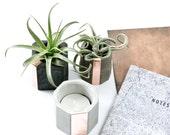 Mix It! Concrete Copper Cup Set, Geometric Concrete Air Plant Holders, modern indoor garden decor, gift set, hand cast beton decor