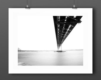 Minimal Black and White Photography, long exposure landscape and architecture art print, monochrome modern wall art 'Forth Bridge'