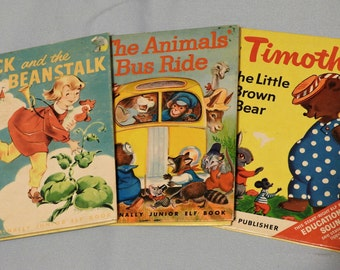 Jack and the Beanstalk, The Animals Bus Ride, Timothy the Little Brown Bear, Rand McNally Junior Elf Book Giant Golden Egg Fairy Tale Family