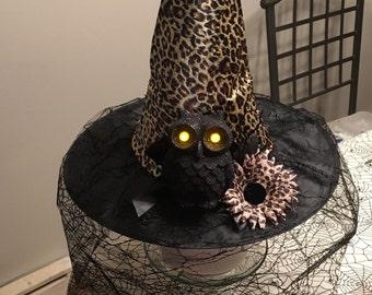 Leopard Print Witch Hat w/Light Up Owl & Flower AUTISM FUNDRAISER