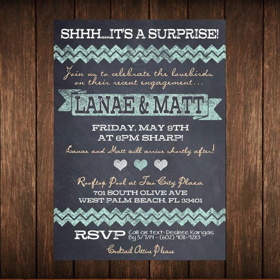 Chalkboard engagement party invitation for Etsy engagement party invites