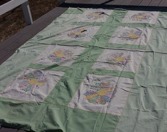 Quilt top coverlet, unfinished
