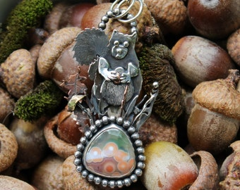 One of a Kind Sterling Silver Squirrel Pendant