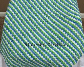 Crochet Afghan Blanket Baby Toddler Boy Blue Green