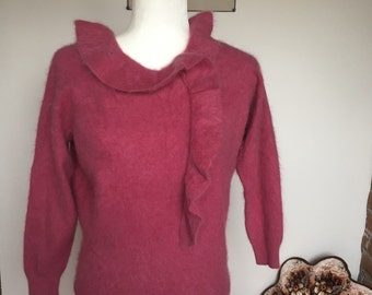 SALE Vintage plum mohair sweater