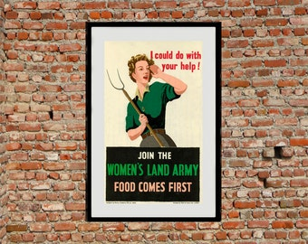 Reprint of a British Land Army Recruiting Poster