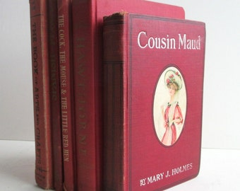 Instant Library in Red Bindings. Collection of Antique / Vintage Books for Styling and Decorating