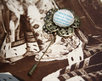 French Dictionary Bronze Flower Brooch
