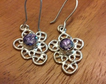 Amethyst  earrings   sterling silver  plated