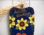 Autumn Greetings Sunflower Wooden Pumpkin - Handpainted Fall Decoration