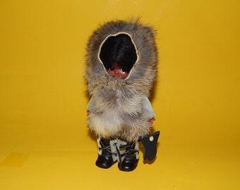 """6"""" Inuit Eskimo Girl Doll Plastic Real Fur Vinyl Boots + Gloves"""