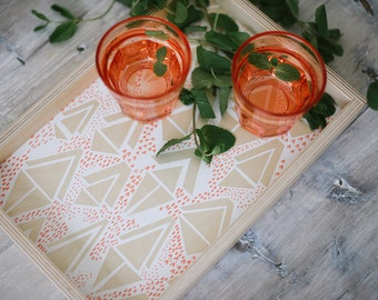 Wood Serving Tray|Ottoman Tray|Breakfast Tray|Coffee Table Tray|Printed with Decorative Geometric Pattern|Small Coral and White Wooden Tray
