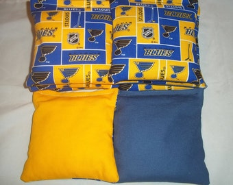8 ACA Regulation Cornhole Bags - 8 NHL St. Louis Blues on Blue and Yellow