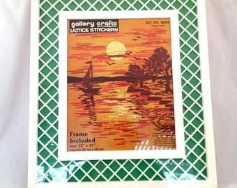 Sunset Lakes Gallery Crafts Lattice Stitchery, Crewel Needlepoint Kit, Orange Yellow Sailboat Sunset Crewel Kit, Needlework, Frame Included