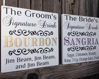 SET of TWO CUSTOM Wedding Signature Drink Signs Wedding Sign Wedding Decor Bar Decor Groom's Signature Drink Sign Bride's Signature Drink