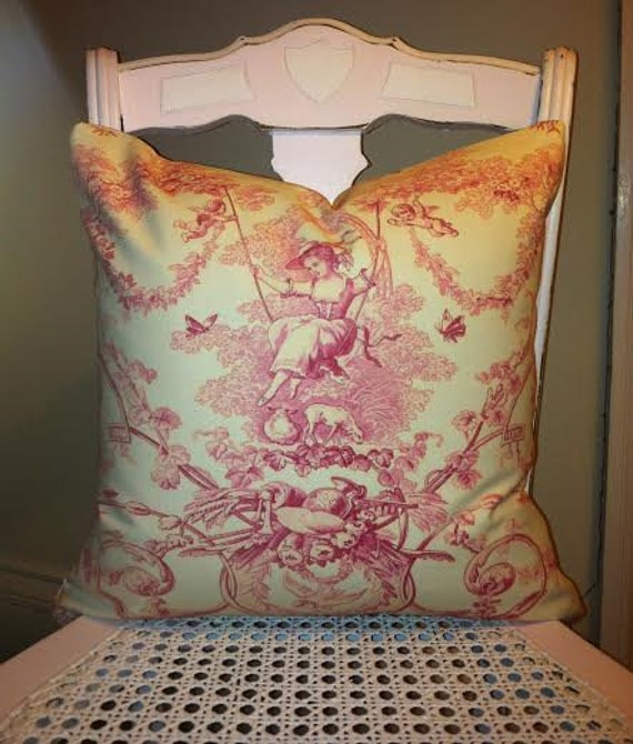 Classic french toile de jouy shabby chic pillow cover french for Toile shabby chic