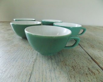 Vintage Green Flat Cups Coffee Mugs - Mid Century Spring Green Teacups