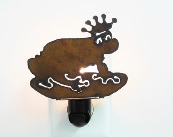 Frog with crown nightlight prince charming made out of rusted metal